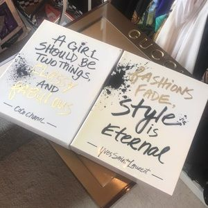 *** 2 Cute Chanel & YSL Quote Wall Art Pieces ***
